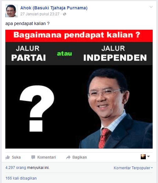 Ahok atau Basuki-Tjahaja Purnama (facebook) pilkada fanspage