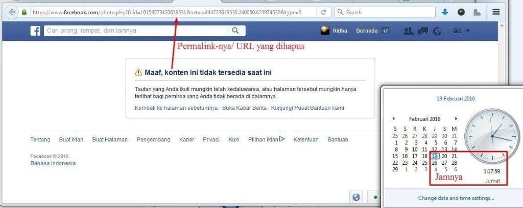 Status facebook yang dihapus juga.