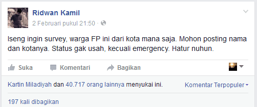Ridwan Kamil atau Kang Emil (Facebook) fanspage pilkada pilgub bandung