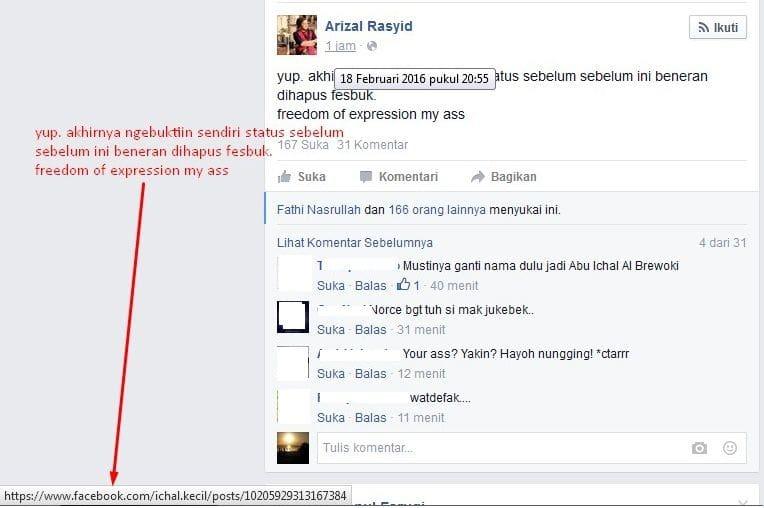 Status Facebook yang Dihapus