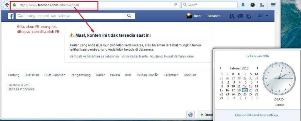 Facebook Arham Rasyid Dihapus Seketika