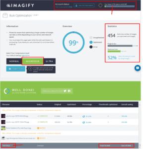 Hasil Pemadatan 1.606 Gambar, Dari 91,9Mb menjadi 47Mb Plugin WordPress Imagify.io Versi Gratis