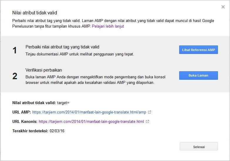 Contoh Pesan Eror Nilai Atribut Tidak Valid atau Invalid Attribute Value (Google AMP)