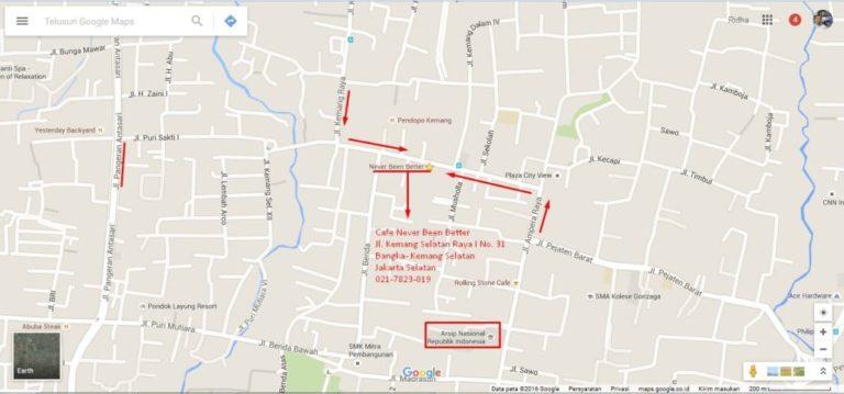 Cafe Never Been Better Jl. Kemang Selatan Raya I No. 31 Bangka- Kemang Selatan Jakarta Selatan-Peta via Google Maps