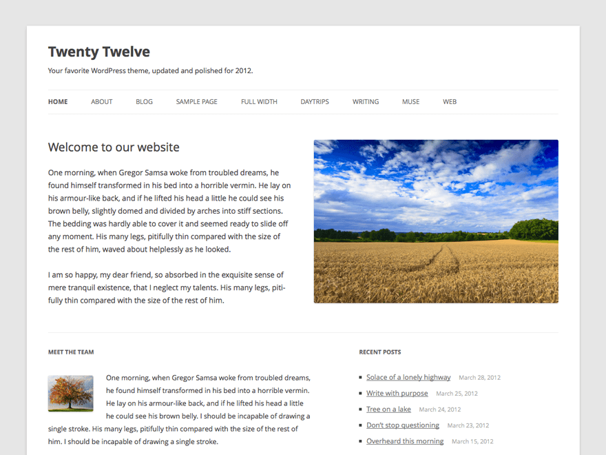 Tampilan Depan Twenty Twelve WordPress Themes