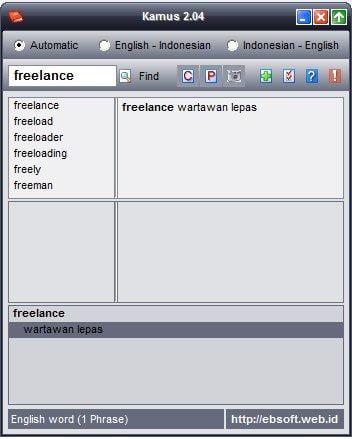 Arti Kata Freelance Definsi Kamus 2.04 (Wartawan Lepas)