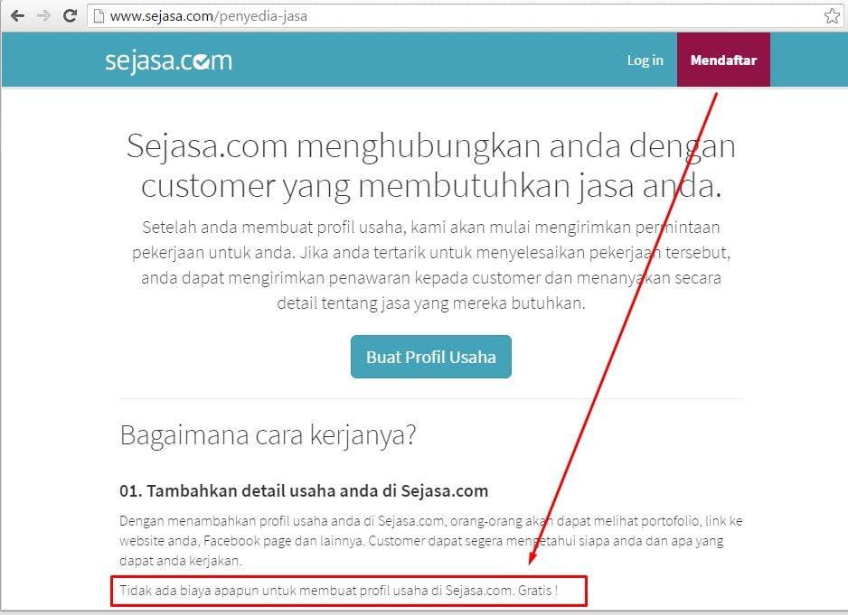 Mendaftar Gratis di Sejasa.com