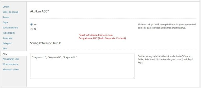 Panel Administrator AGC (Auto Generate Content) wp-admin tema Wordpress Flatsimplebingit Kentooz.com