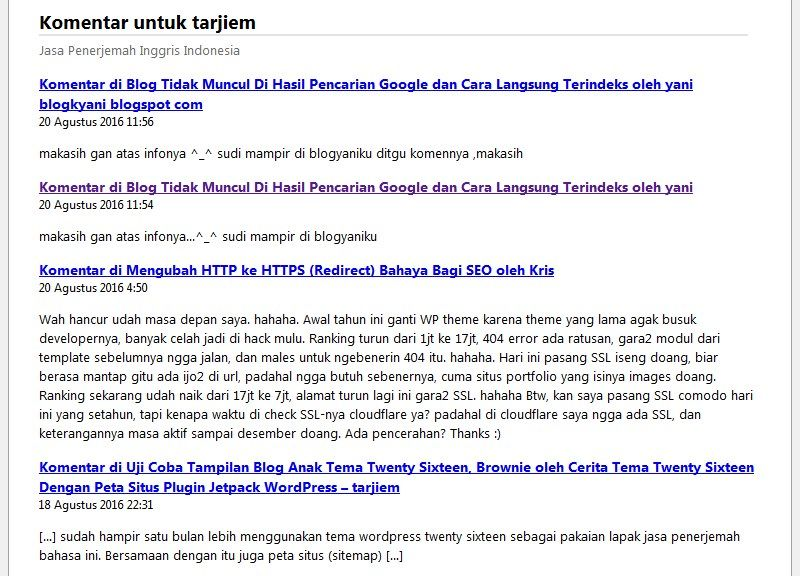 Contoh Komentar RSS Feed di https://tarjiem.com/comments/feed Agustus 2016