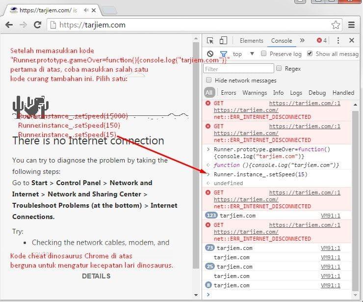 Kode Tambahan: Pengaturan Lari Cara Cheat Dinosaurus Google Chrome