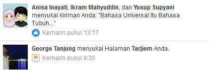 Contoh Pemberitahuan Versi Bahasa Indonesia di Facebook. Perhatikan kata Anda.