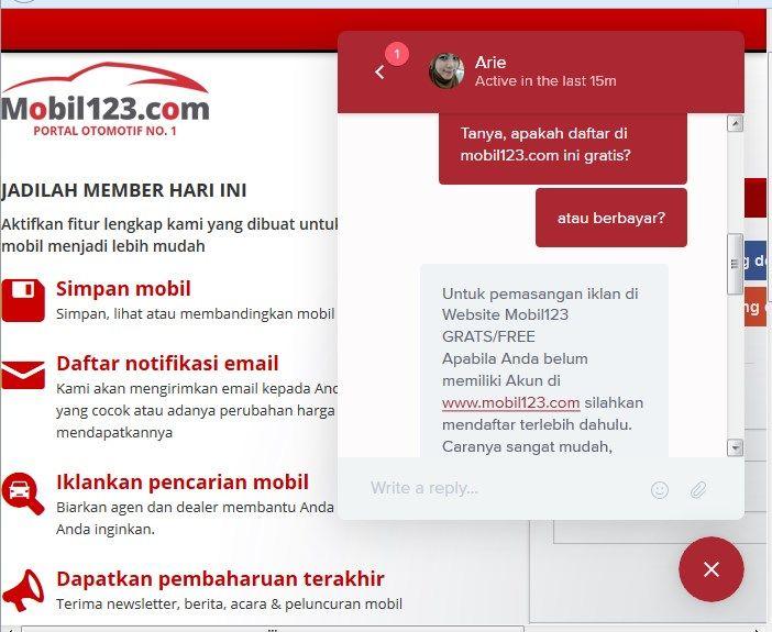 Uji Coba layanan Live Chat Mobil123.com