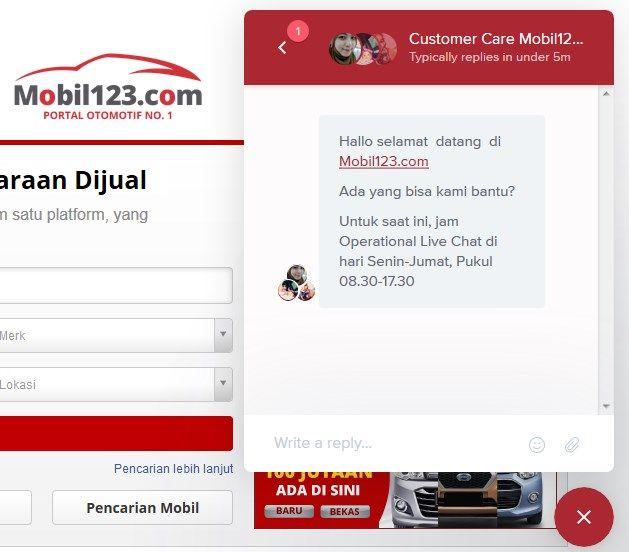 Layanan Obrolan Langsung (Live Chat) di Mobil123.com