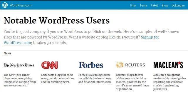 Daftar 40 Situs Terkenal yang Menggunakan WordPress