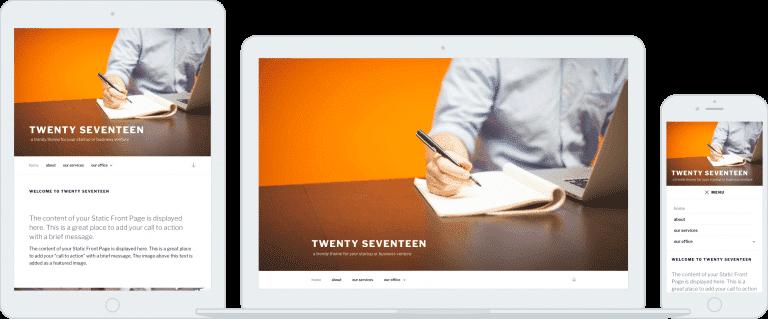 Tampilan Desain Tema Wordpress Twenty Seventeen (2017)