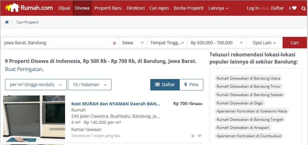 Contoh Hasil Pencarian Kos di Bandung 500-700 ribu per Bulan