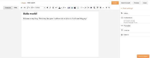 Hello World! Blogspot Tulisan Pertama Tampilan Edit Pos