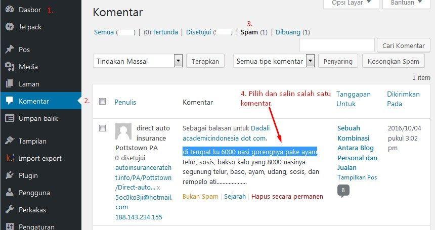 Masuk ke Admin WordPress, Komentar, dan salin 1 Komentar Spam