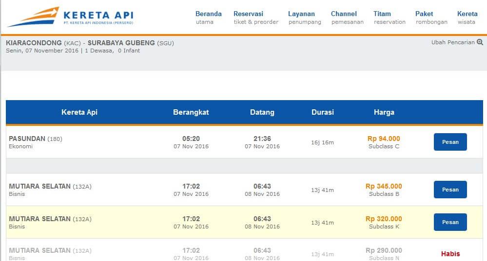 Harga Tiket Kereta Api Bandung-Surabaya Online via tiket.kereta-api.co.id