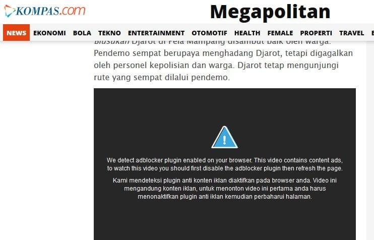 Video di Megpolitan.kompas.com juga Melarang Penggunaan Ad Block