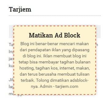 Pemberitahuan Matikan Pemblokir Iklan di Tarjiem.com
