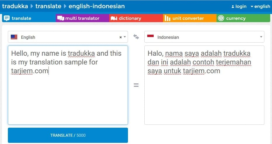 Tradukka.com - Terjemahan Otomatis bahasa Inggris ke bahasa Indonesia