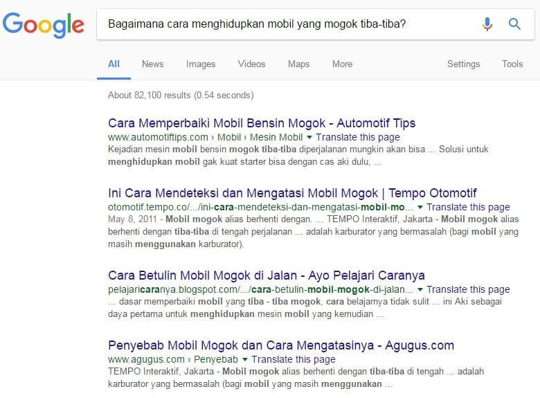 """Contoh Hasil Mesin Pencari Google Kata Kunci """"Mesin Mobil Mogok Tiba-Tiba"""""""