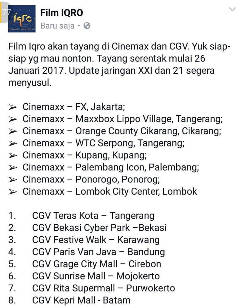 Jadwal Film Iqro Tayang di Bioskop Serentak Seluruh Indonesia XXI Cinemax CGV
