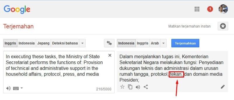 Hasil Terjemahan Bahasa Inggris ke Indonesia Google Trnslate (vs Citcat)