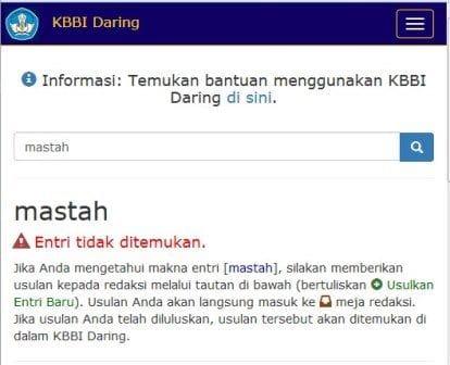 Apa Itu Mastah Versi Kamus Bahasa Indonesia Daring Kemendikbud