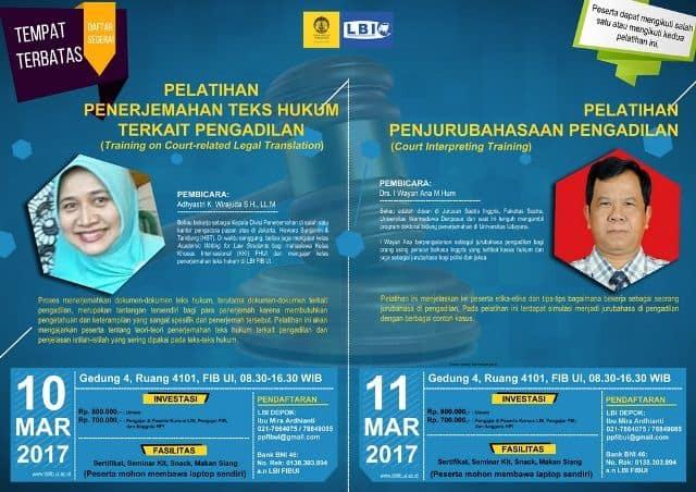 Salah Satu Brosur Kursus Penerjemah UI (Universitas Indonesia) Translation dan Interpreting Bulan Maret 2017