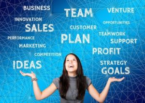 Ilustrasi Wanita Cara Jualan (Marketing) Online, Sales, Bisnis, Plant, Strategi, dengan Kata-Kata
