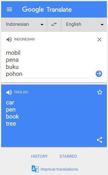 Terjemahan Bahasa Google Indonesia ke Inggris kata Mobil, Pena, Buku, Pohon, Di HP, Mobile