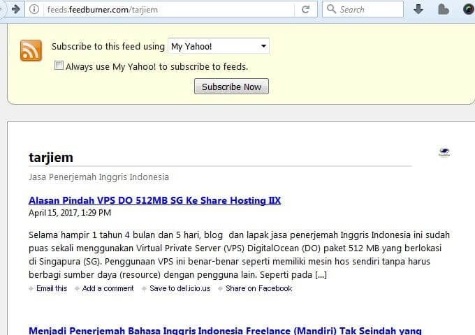 Contoh Alamat RSS Feed https://feeds.feedburner.com/tarjiem