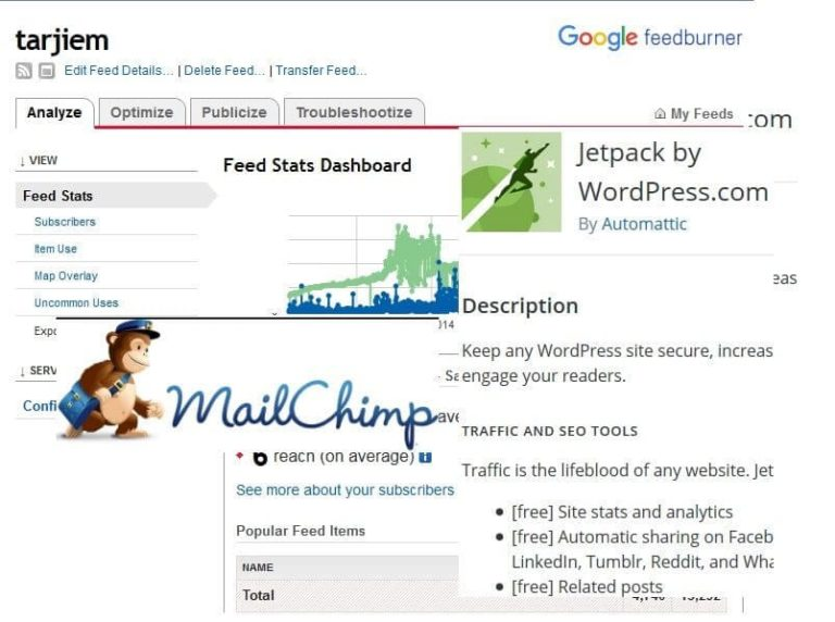 RSS MailChimp, FeedBurner Google, dan Plugin Jetpack Subcription WordPress