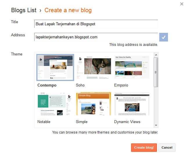 Cara Membuat Blog Gratis Mendapatkan Pekerjaan Terjemahan Memakai Blogger.com Blogspot