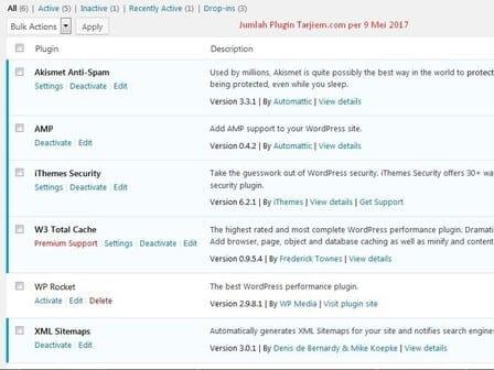 Jumlah Plugin WordPress Tarjiem Per 9 Mei 2017 (Akismet, AMP, W3TC, iThemes, XML Sitemaps)
