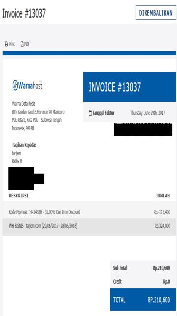 Tagihan Warnahost Dibeli dan Dikembalikan Untuk Paket 1 Tahun Litespeed, SSD, IIX