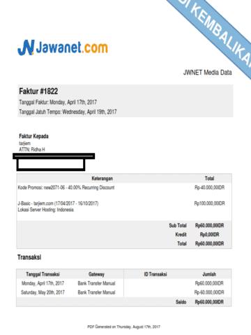 Tagihan JNhost.co.id/JawaNet yang Dikembalikan Setelah Beli dan Dapat Diskon (April 2017)