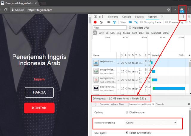 Kecepatan Beranda Tarjiem 22 Nov 2017 Google Chrome Dari Bandung Samping Gedung Sate ke Jakarta Pusat Indihome 10MBPS Serat Optik