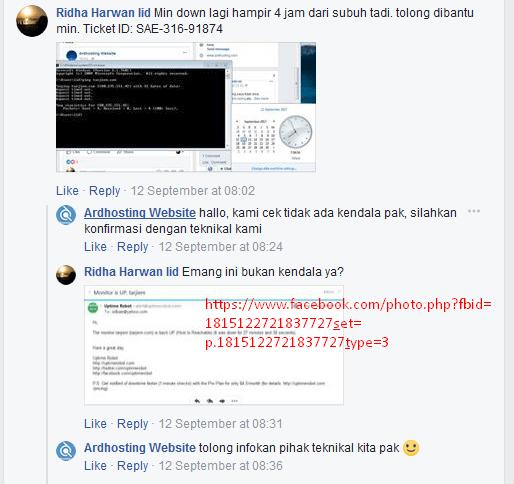 Ardhosting Jelek Saat Komplain Down ke Fanspage Facebook Ardhosting