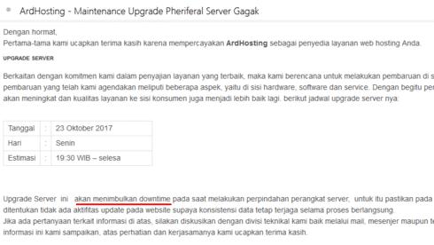 Surat Pemberitahuan Upagrade Server Dari Ardhosting