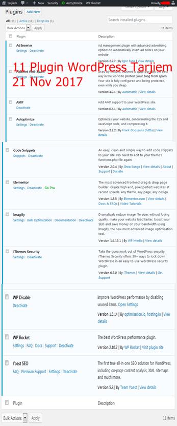Daftar 11 Plugin WordPress yang Dipakai Tarjiem Nov 2017