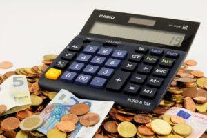 Kalkulator Hitung Casio Hitam Uang Kertas Duit Receh Euro Kuning