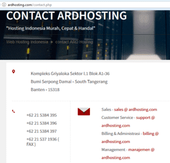No Telepon Ardhosting Contact Email Support