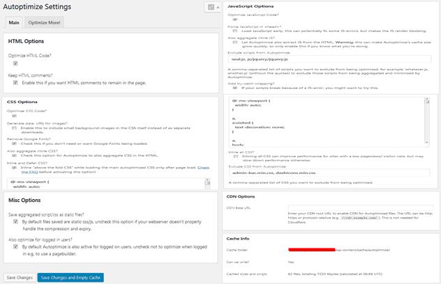 Pengaturan/Setting Plugin Autoptimize CSS, JS, HTML, dan Cache Gratis Tarjiem Nov 2017
