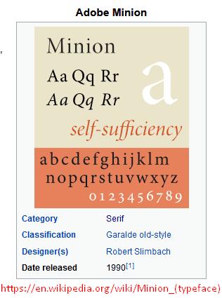 Penjelasan Jenis Huruf Minion Pro Dari Wikipedia