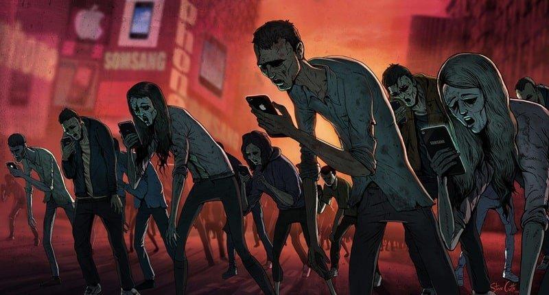 Orang Berjalan Mayat Hidup Zombi Sambil Pegang dan Lihat HP Ponsel Smartphone Stavecutts.com