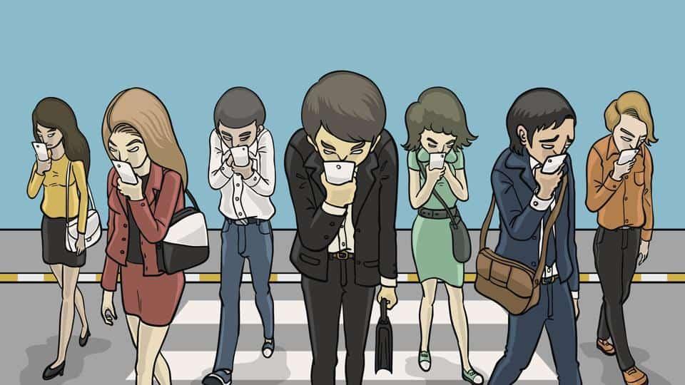 Kartun Orang Zombi Mayat Hidupt Ke Kantor Berdasi Berjalan Sambil Lihat HP-hindustantimes.com