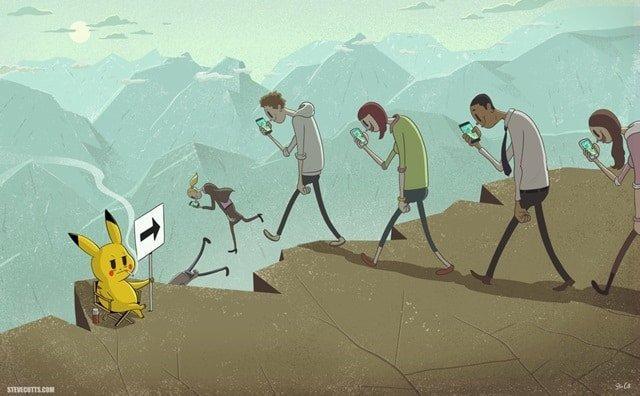Orang Rama-Ramai Berjalan Sambil Pegang dan Lihat HP Ponsel Pintar Smartphone ke Lembah Jatuh Ke Jurang Ada Pokemon Pikachu-stevecutts.com